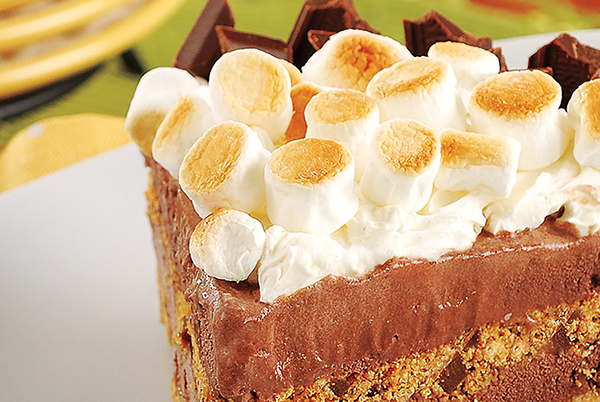 Smore's Ice Cream Pie with burnt marshmallow topping